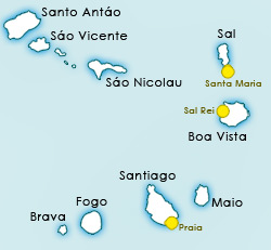 Cape de Verde info and facts. Cape Verde, where is Cabo Verde Islands? Cheap holidays to Cape de Verde, about west Africa. Cape de Verde Map for Sal, Boa Vista and more...