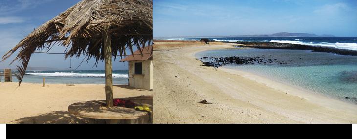 Info & fakta om Kap Verde Praia Afonso, privat öde strand & källa med tropiska fiskar vid Santa Maria, Sal. Liten damm, turkost vatten utan vågor, perfekt för barn