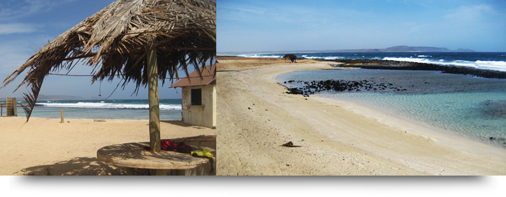 Info about Praia Afonso, an empty beach & pond with tropical fish in Cape Verde islands, Sal. Beach for children with no waves, for snorkeling or sunbathing